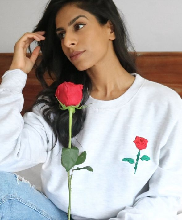 Love Wins Rose Embroidered Graphic Sweatshirt