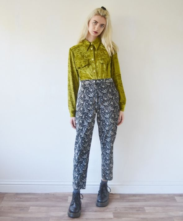 Vintage high waisted velvet trousers floral black and white
