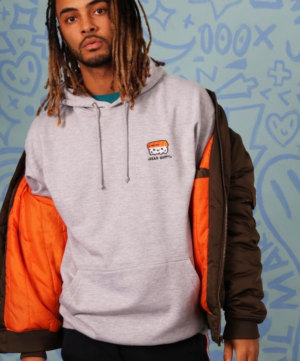 Sushi DEAD HAPPY Mens Hoodie Embroidered in Heather Grey