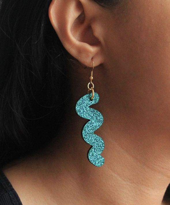 Glittery squiggle hook earrings in turquoise