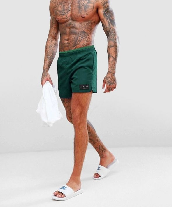 54 Floral Trim Swim Shorts - Forest Green