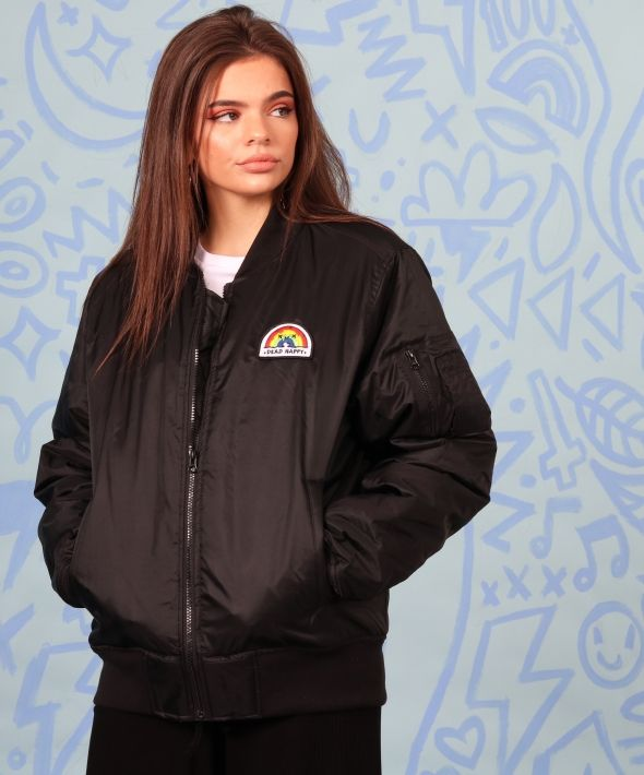 Black Bomber Oversized Jacket with Dead Happy Rainbow Embroidered Patch