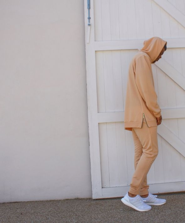Oversized Hoodie With Zippers - Beige