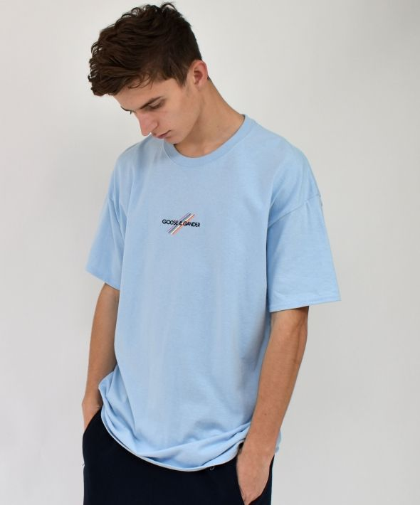 G&G Unisex Baby Blue S/S Pastel Multi Lines Tee