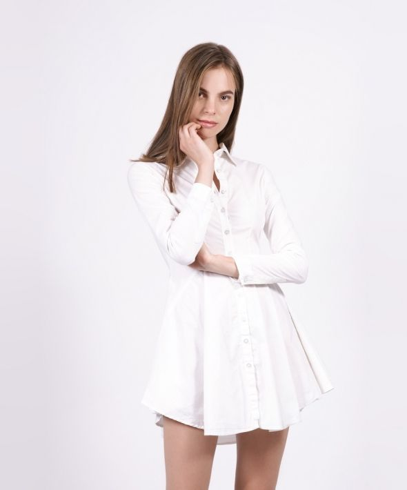 White Shirt Dress with Circle Skirt