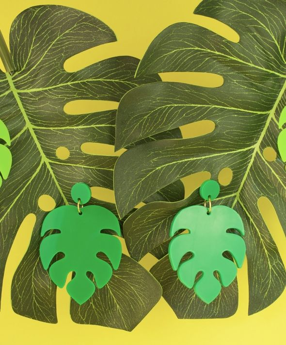 Monstera Swiss Cheese Plant Earrings