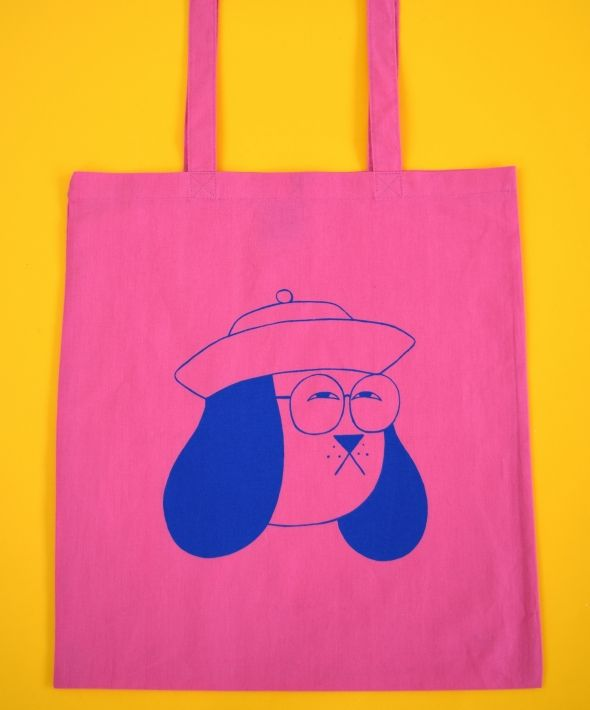 Weird Dog Doggy Bag Tote Bag in Pink