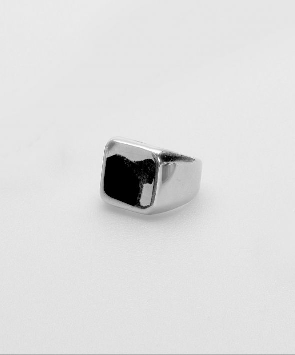 54 Floral Keena Square Signet Ring - Silver
