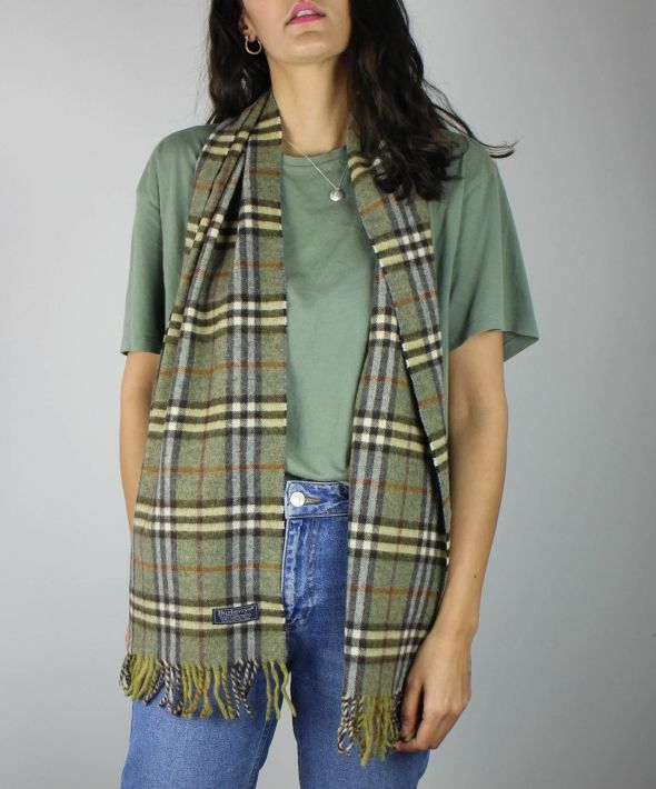 Vintage Burberry Lambswool Check Scarf
