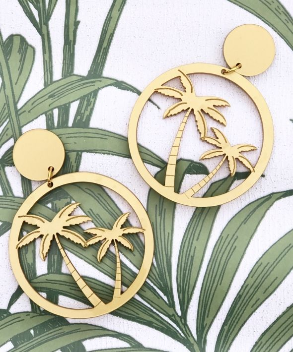 Giant Palm Tree Hoop Earrings