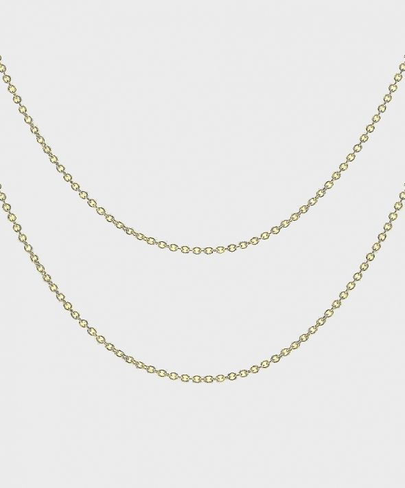 54 Floral Keena Long Dual Necklace Chain - Gold