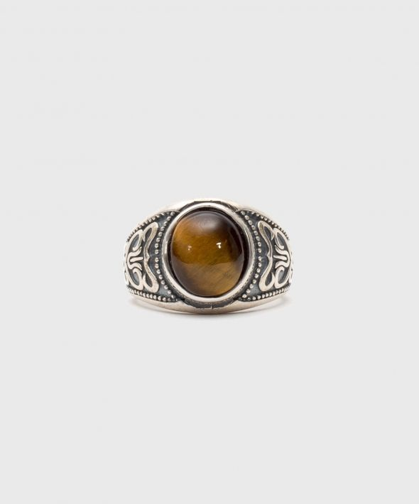 Silver Amber Stone Ring