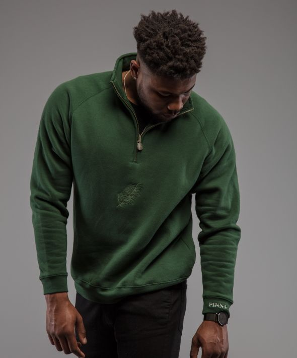 PINNA Script 1/4 Sweatshirt - Forest Green