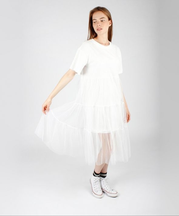 White T-Shirt Dress with Mesh Skirt