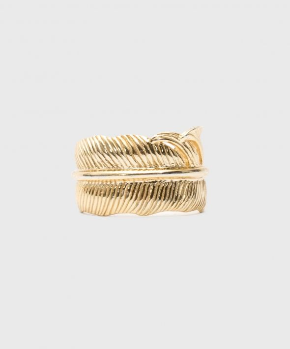 Gold Plated Silver Feather Ring