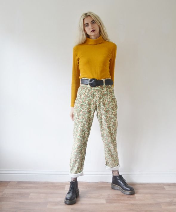 Vintage high waisted floral cord trousers corduroy