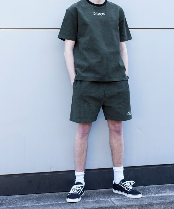 Demos Green logo corduroy Shorts