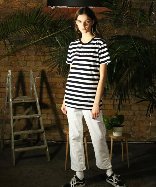 Paris In Cuffs Embroidered Striped Tshirt White - Womens