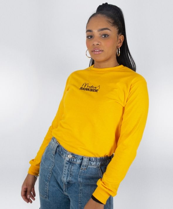 Yellow Embroidered Skyline Long Sleeve T-shirt