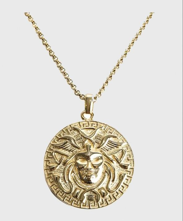 Gold Plated Silver Medusa Pendant Necklace