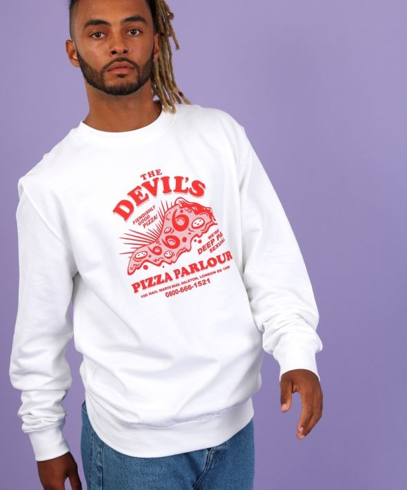 THE DEVIL'S PIZZA PARLOUR white printed red graphic sweatshirt