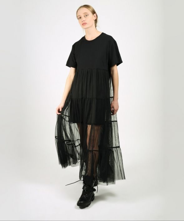 T-Shirt Dress with Mesh Skirt