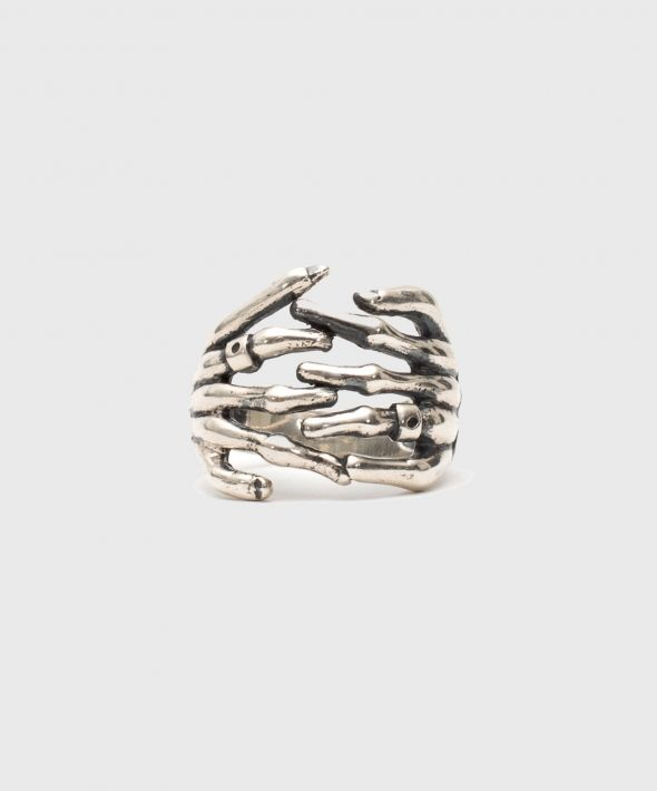 Silver Skeleton Hands Ring