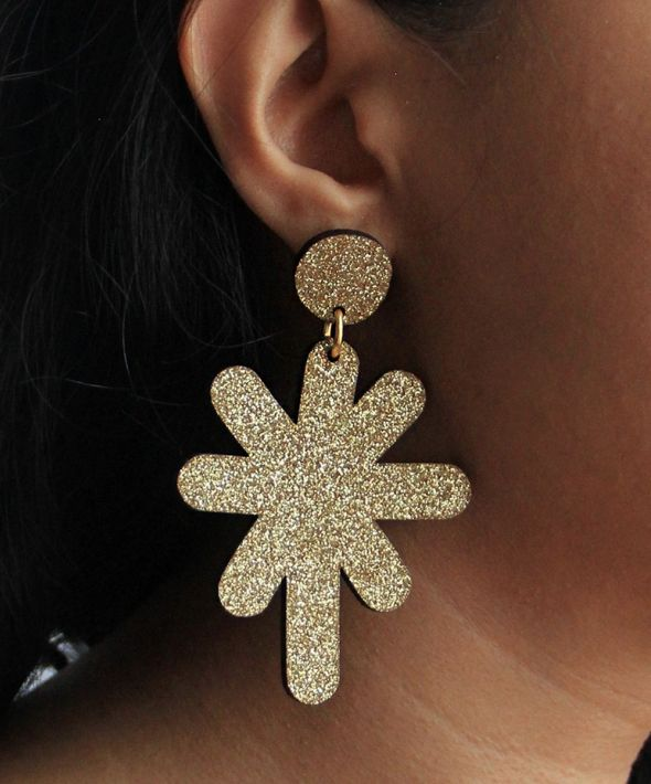 Glittery magic star dust large stud earrings in gold