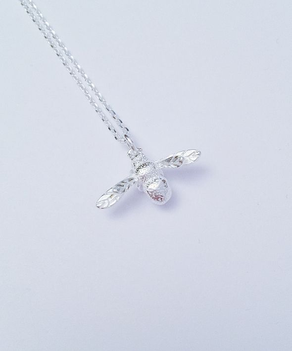 Silver Honey Bee Necklace