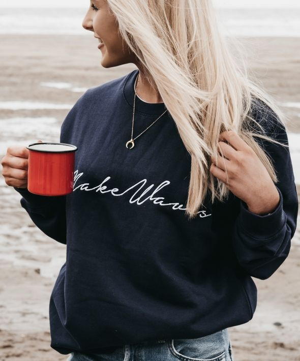 Make Waves Embroidered Navy Blue Sweatshirt