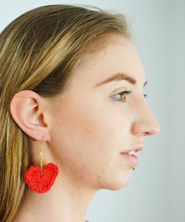 Crocheted red heart earrings