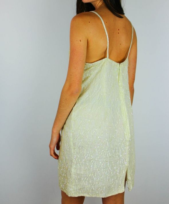 Vintage Embellished Sequin Cami Party Dress with Low Back
