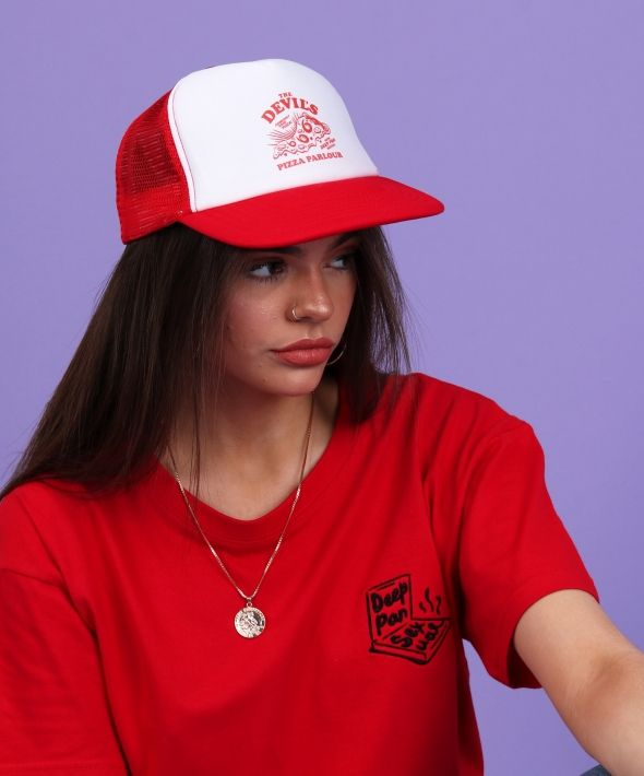 THE DEVIL'S PIZZA PARLOUR printed red trucker cap