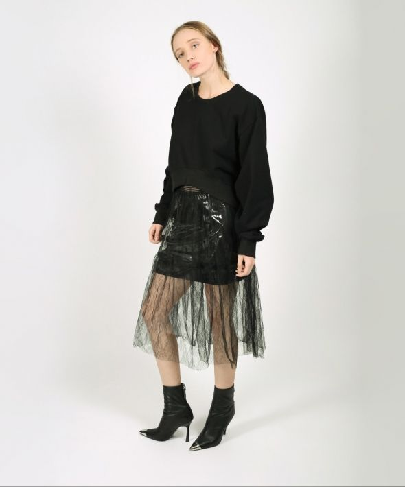 Black Layered Lace and Plastic Skirt