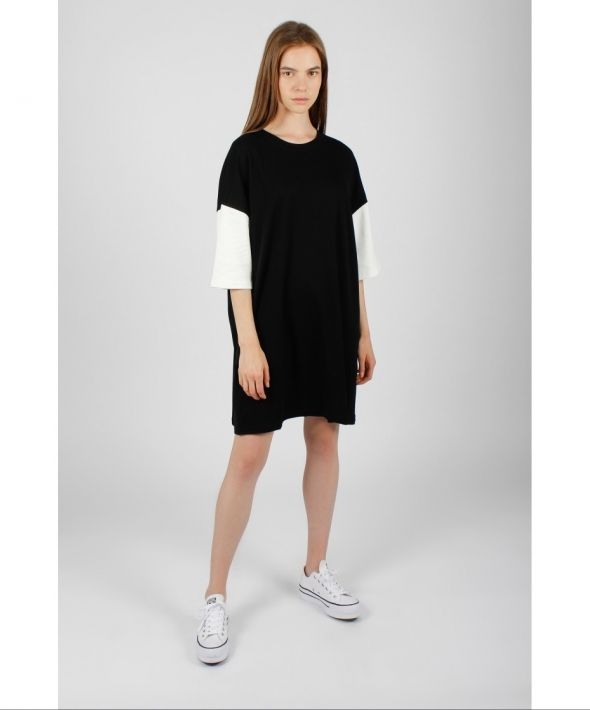 Contrast Sleeve T-Shirt Dress