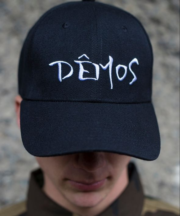 Demos black embroidered demos logo cap