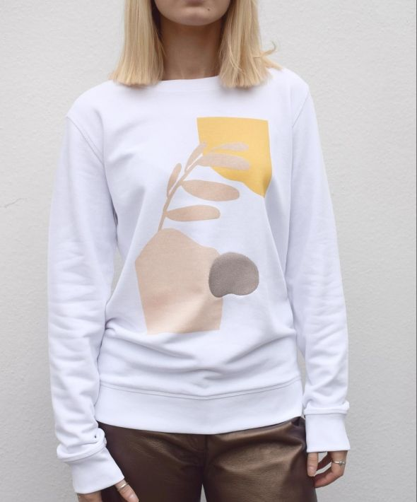 Abstract Organic Print and Embroidered Jumper
