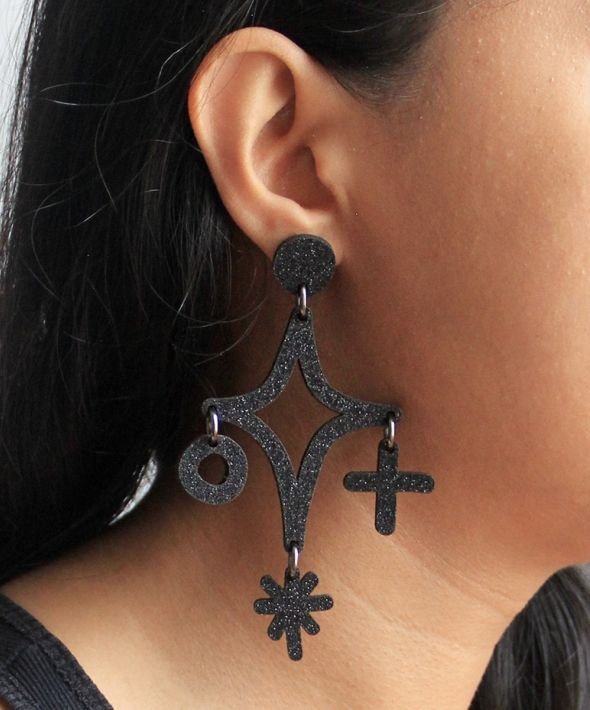 Glittery magic star dust cluster hook earrings in black