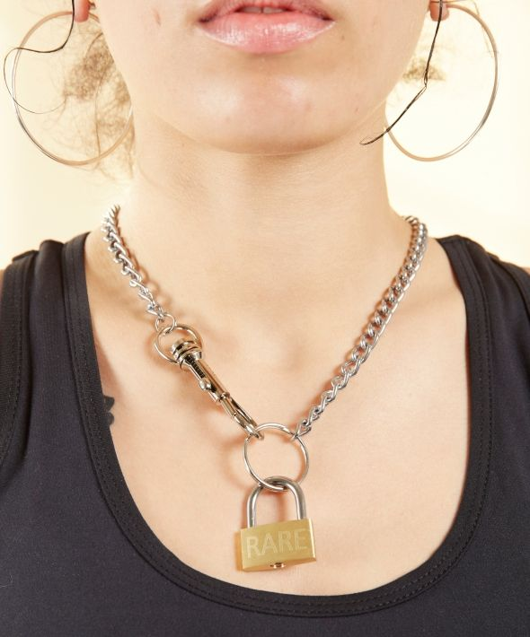 Padlock Pendant with Silver Chain Necklace