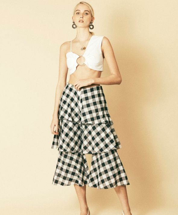 Gingham tiered flared cropped trousers