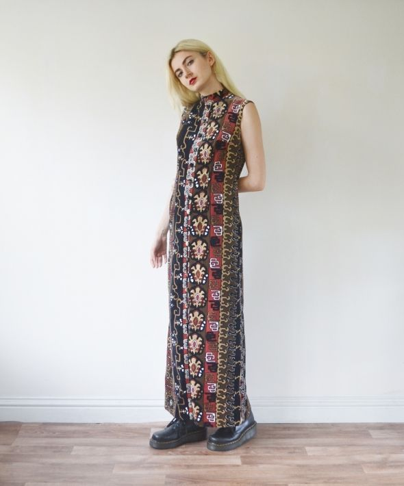 Vintage velvet maxi full length dress occasion high neck