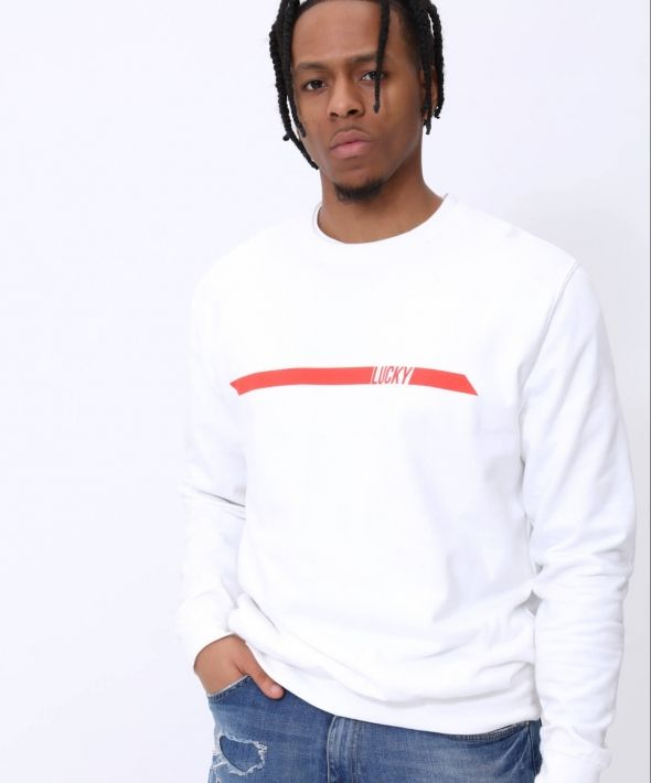 The Lucky Club Racer Sweater in White