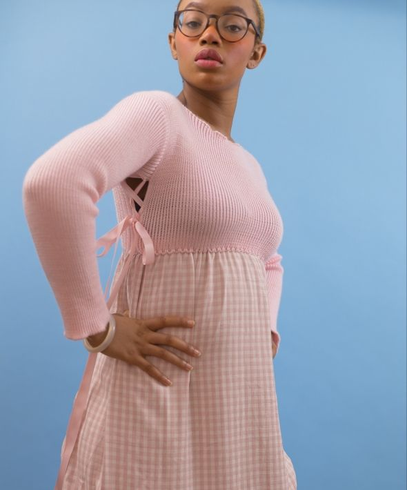 Brooklyn Pink Knit and Distressed Gingham Dress