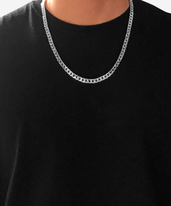 54 Floral Heavy Chunky Curb Necklace Chain - Silver