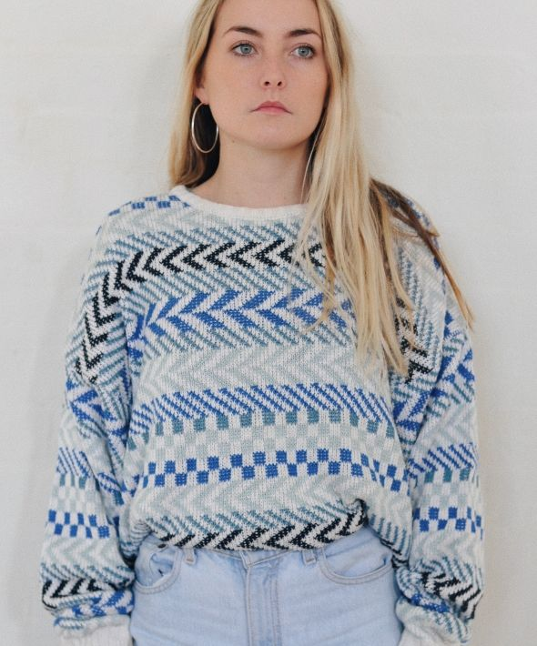 Vintage 90's Abstract Pattern Knit Cream Blue Black Jumper