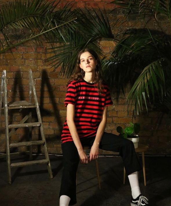 Paris In Cuffs Embroidered Striped Tshirt Red - Womens