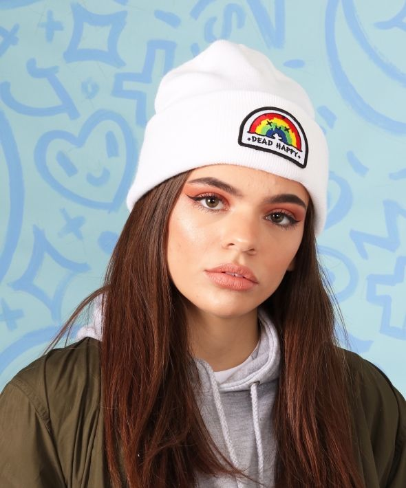 White Knitted Beanie with Rainbow Embroidered Patch