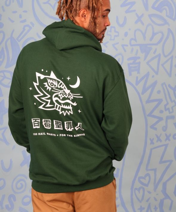 TIGER HEAD green hoodie with graphic print