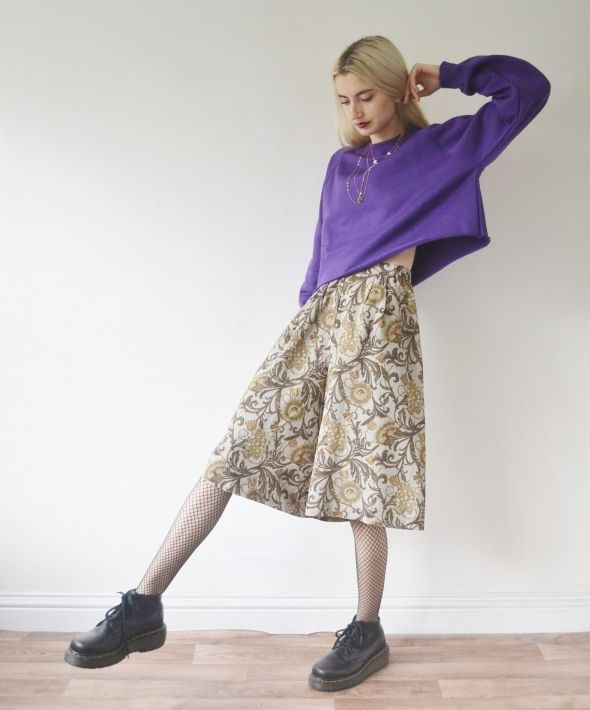 Vintage high waisted culottes scarf print trousers skirt