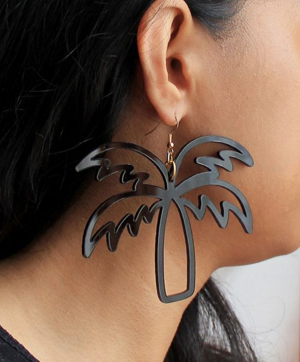 Large tropical palm tree cut out hook earrings in black